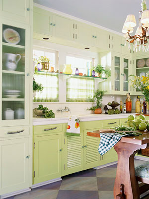 Green Cabinet In Kitchen Remodeling